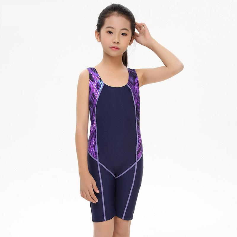 Kids Swimming suit Children One Piece Swimwear long Slim Swimsuit for Girl Training Swimwear Jumpsuit Beachwear-SheSimplyShops
