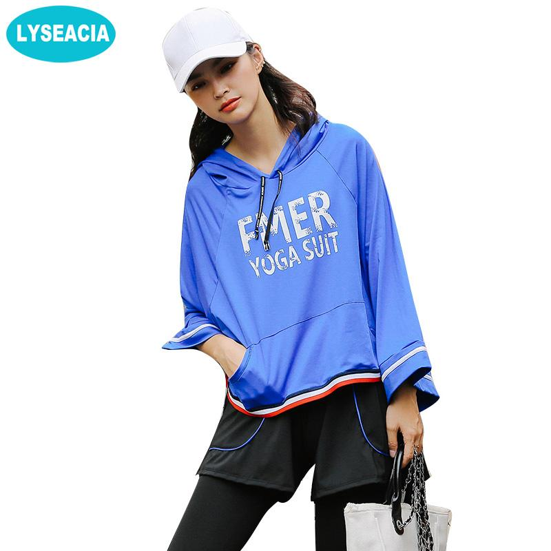 Letters Tracksuit Women Fitness Sportswear Flare Sleeve Hoodies Fitness Leggings Tights Sports Bra 4 IN 1 Yoga Set-SheSimplyShops