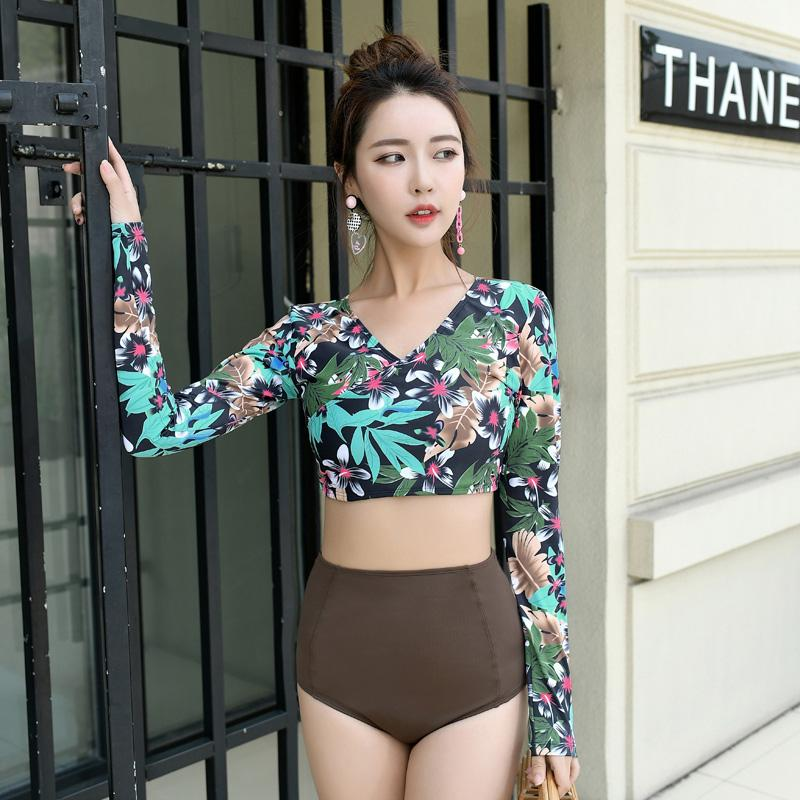 Long Sleeve Bikinis Woman Push Up Bikini Set High Waist Swimsuit Women's Separate Swimwear Bather Biquini Printed-SheSimplyShops