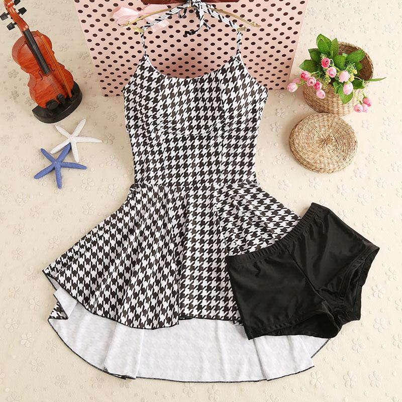 Long Tail Swim Dress Beachwear Plaid Female Swimsuit Women's Plaid Swimwear With Swimming Short Two piece Suits-SheSimplyShops