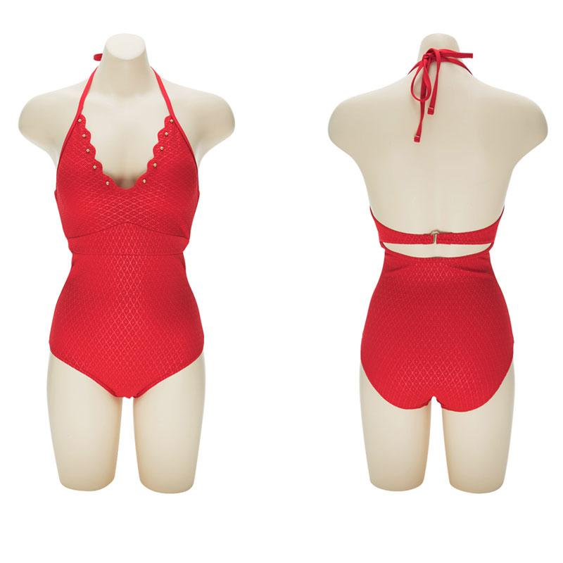 Halter Swimsuit Push Up Women One Piece Swimwear Red High Cut Sexy Bodysuit Slimming Waist Swimming Suits-SheSimplyShops