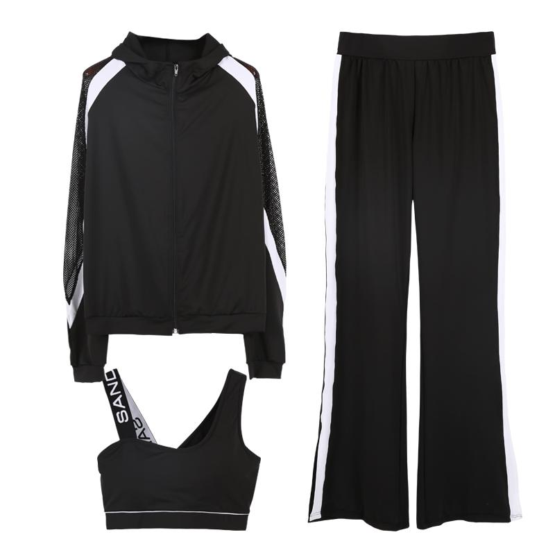 Patchwork Tracksuit for Women Mesh Sleeve Coat Sports Set Yoga Fitness Flare Pants Sports Bra 3 IN 1 Sportswear-SheSimplyShops