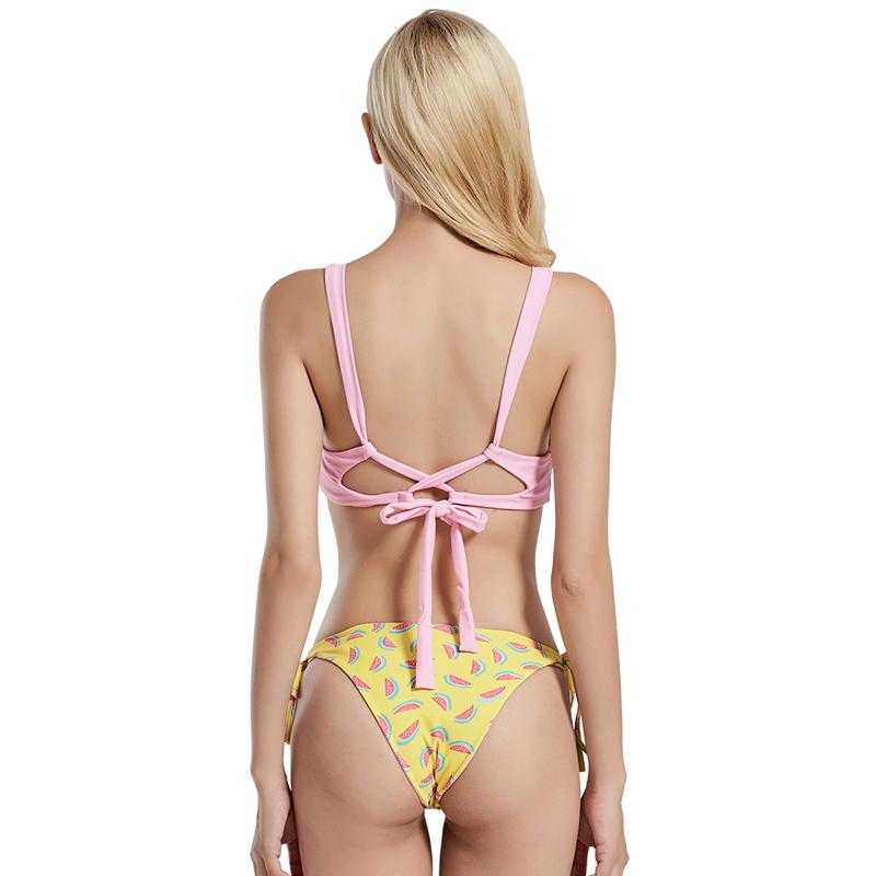 Pink Bikini Set Tied Bottom Reversible Swimsuit Bikinis Bandage Swimwear Women-SheSimplyShops