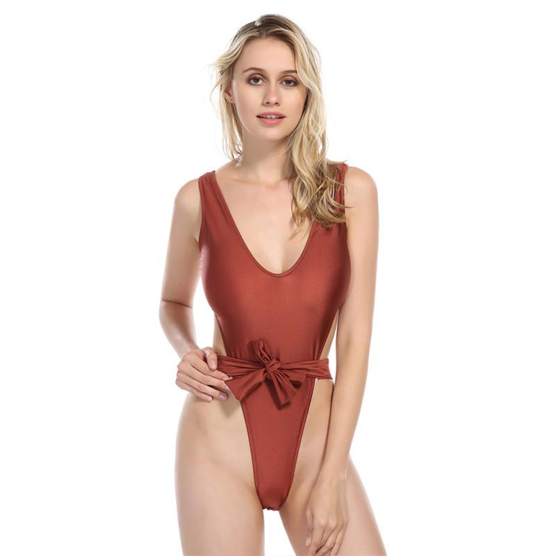 Sexy High Cut Swimsuit for Women Deep V One Piece Swimwear Wine Red Adjust Waistband Beachwear Swimsuits-SheSimplyShops