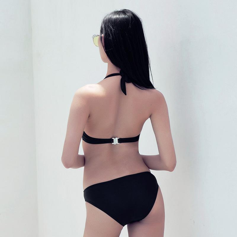 Sexy Sequins Swimwear Women High Cut One Piece Swimsuit Solid Halter Neck Swimwear Backless Bathing Suit-SheSimplyShops