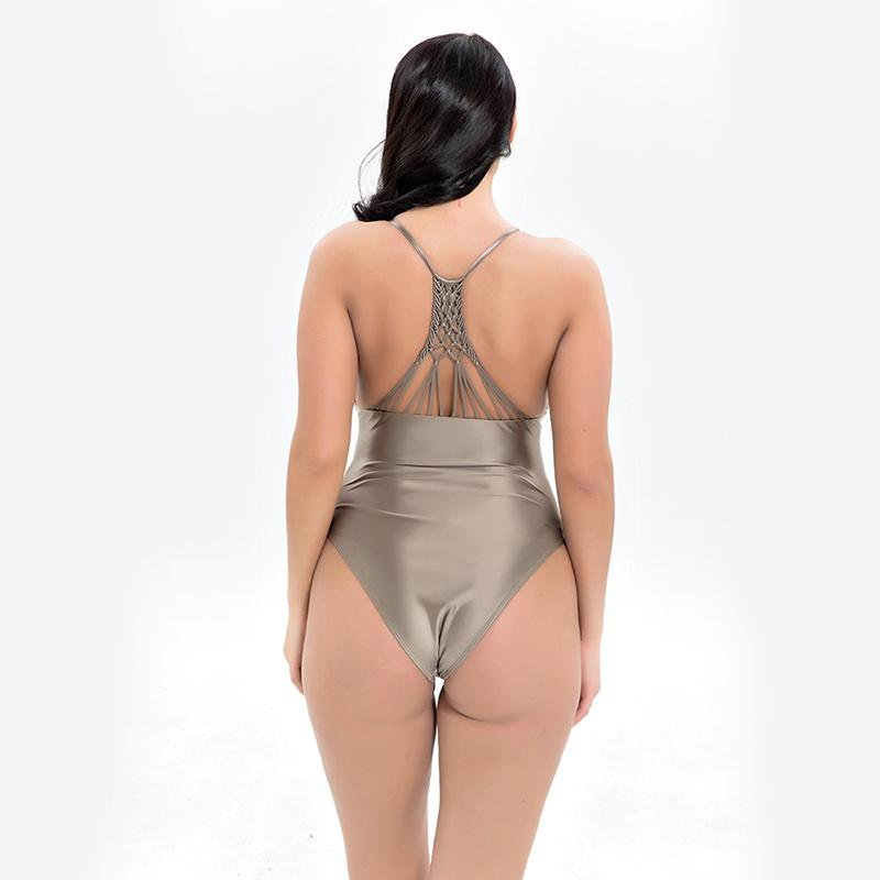 Shiny Swimwear One Piece Swimsuit Women Push Up Beachwear Bathing Suit for Women-SheSimplyShops