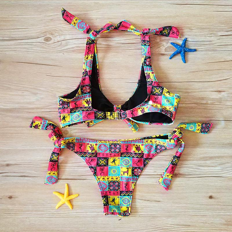 Slipknot Sexy Bikini Women Egyptian Print Swimsuit Adjustable Waist Thong Micro Bikinis Soft Pad Women's Swimming Suit-SheSimplyShops