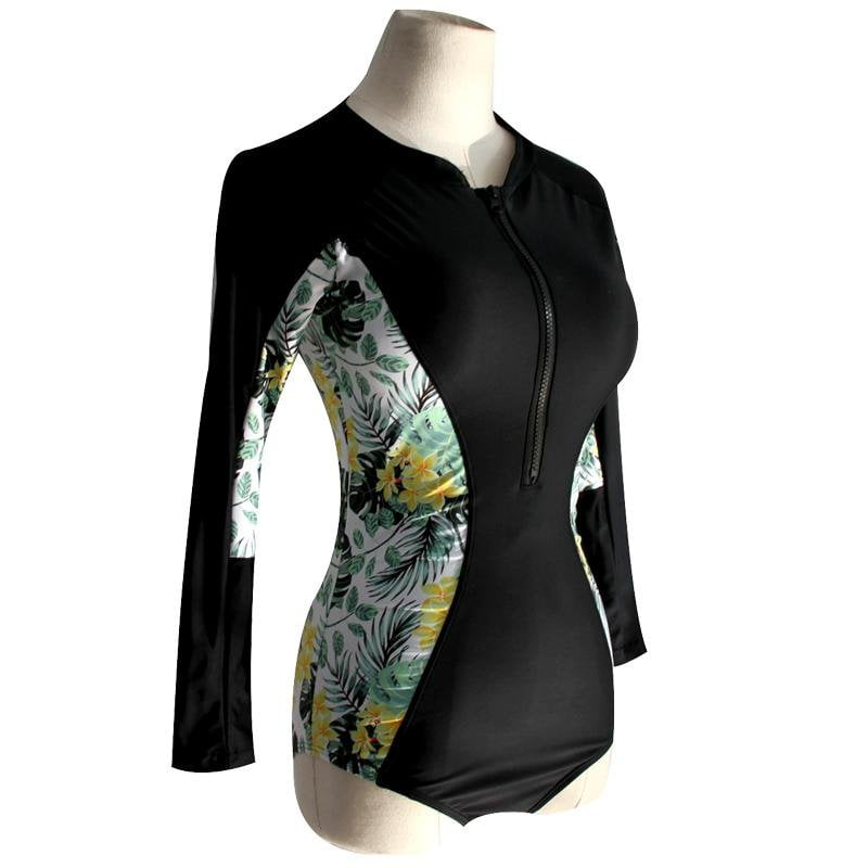 Soft Pads Swimwear Rash Guard Girls Surfing Diving Swimming Bodysuits Women One Piece Swimsuit Long Sleeve Rash Guards-SheSimplyShops