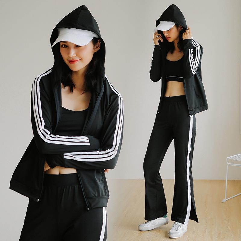 Striped Sportswear for Women Yoga Suits Exercise Hoodies Letters Workout Bra Flare Pants Fitness 3 IN 1 Sports Clothes-SheSimplyShops