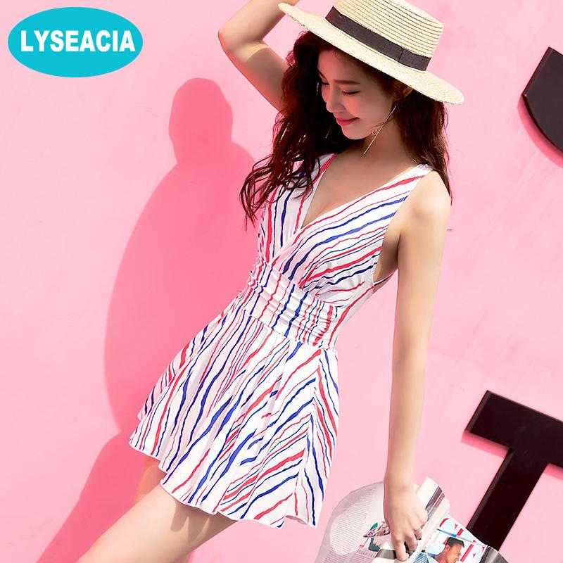 Woman One Piece Swimsuit Stripes Swim Dress Beach V Neck Strappy Swimsuits with skirt Backless Bathing Women's Swimwear-SheSimplyShops