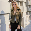 Lily Rosie Girl Casual Suede Leather Women Jacket Ruffle Long Sleeve Short Coats Winter Female Fuax Coat Outerwear Crop Top