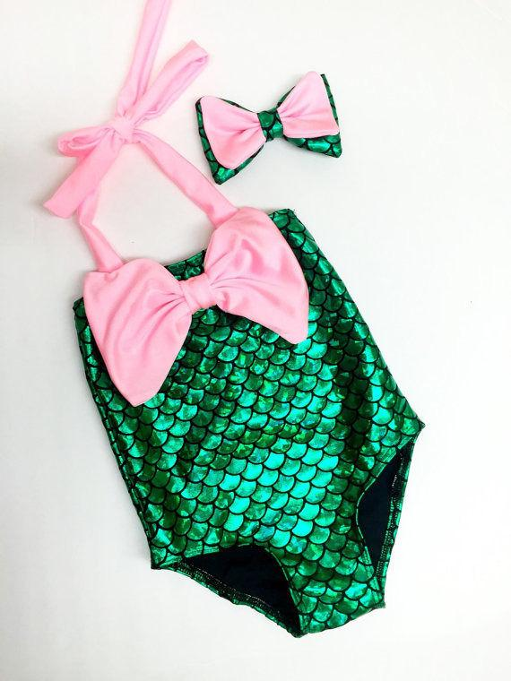 Little Mermaid kids children swimwear Kids Girls Child one piece swimsuit swimwear bathing suit for girls-SWIMWEAR-SheSimplyShops