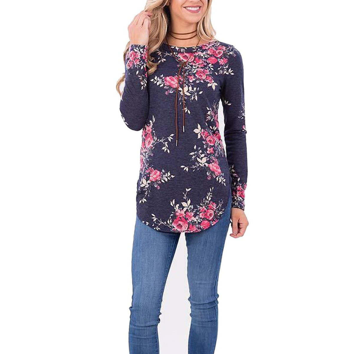 Long Sleeve T-shirt Women O Neck Flower Print Casual Tee Shirt Slim Female T shirt Fashion Autumn Ladies Tops-SHIRTS-SheSimplyShops