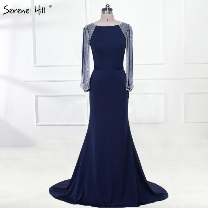 Long Sleeves Beading Chain Elegant Mermaid Prom Dresses Crystal Beading Satin Dresses For Prom-SheSimplyShops