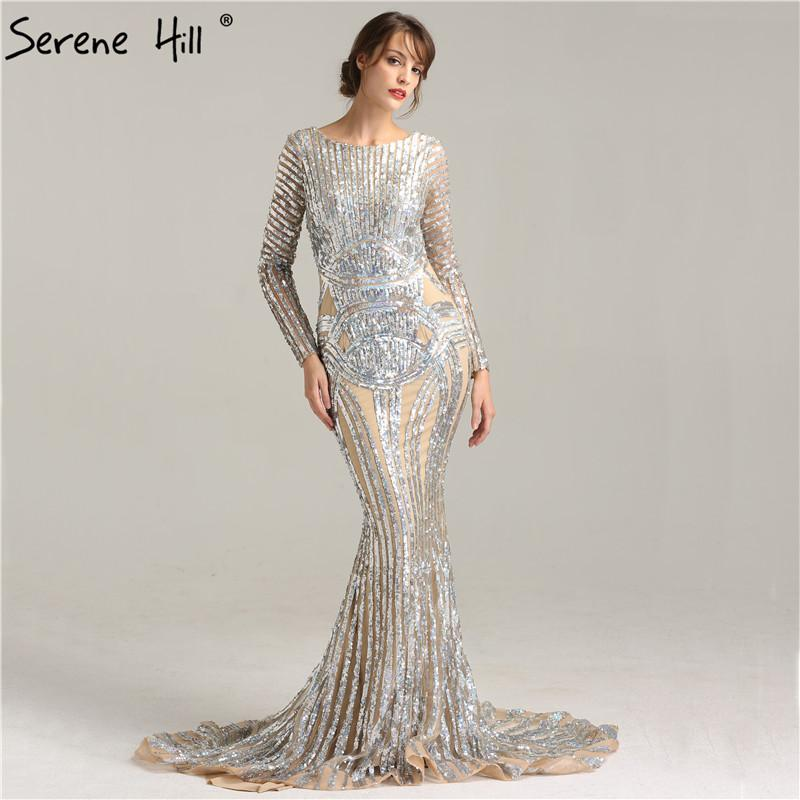 Nude Sexy Sequined Long Sleeves Evening Dress Backless Evening Gowns-SheSimplyShops