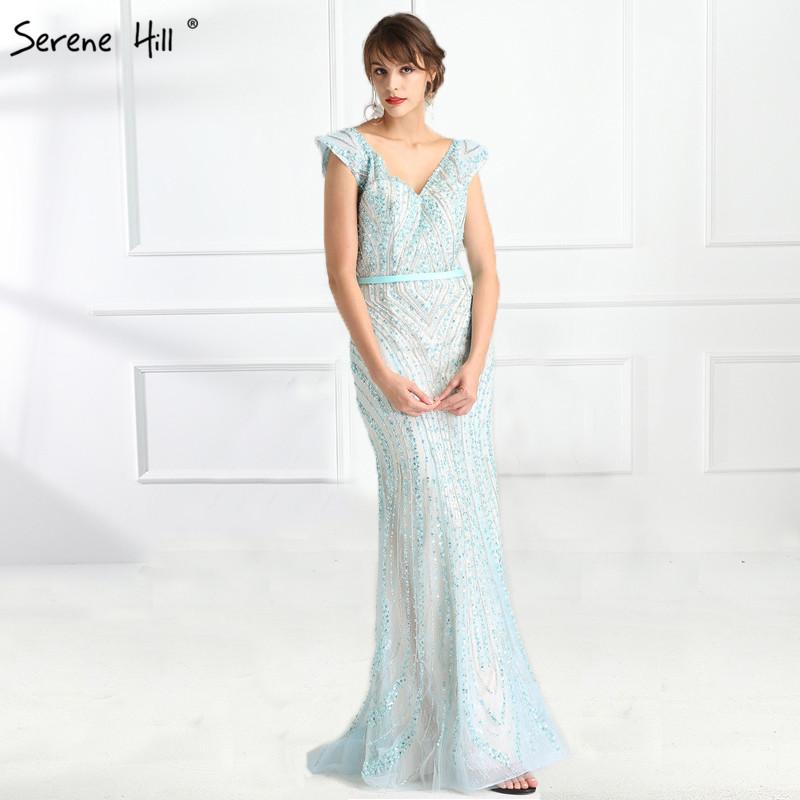 V Neck Mermaid Evening Dress Beading Hand working Long Evening Gowns-SheSimplyShops