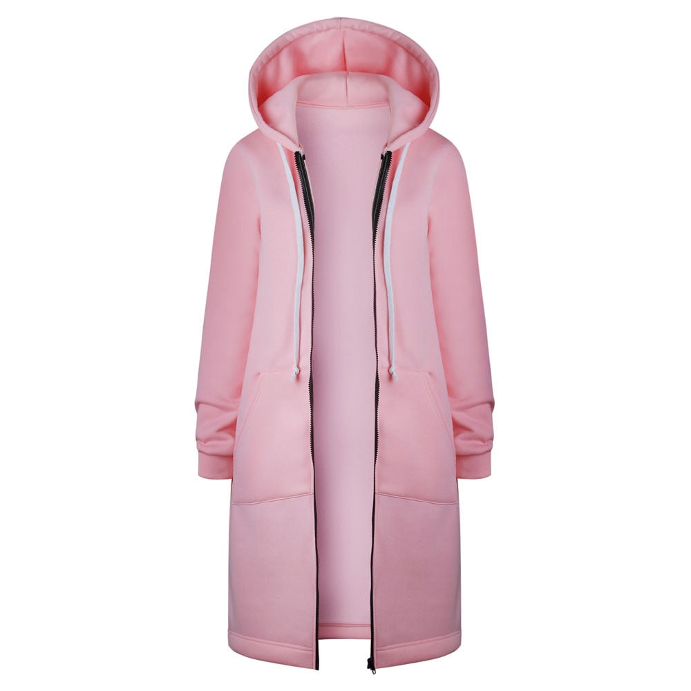 MISSOMO coats and jackets women Warm Zipper Open Hoodies Sweatshirt Long Coat streetwear clothes Tops Outwear