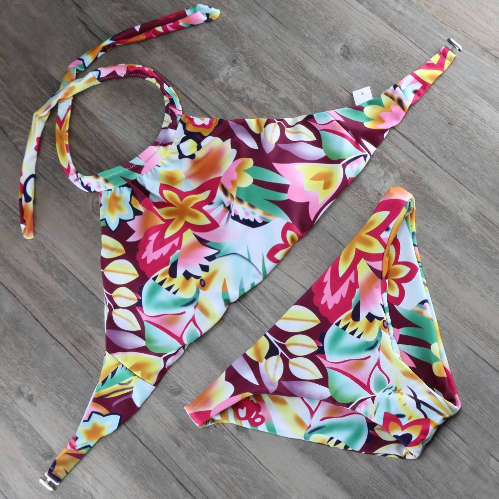 Flowers Print High Tanking Neck Bikinis Set Bandage Top Swimsuit Women Swimwear Bathing Suit Summer Swimming suit-Tanks-SheSimplyShops