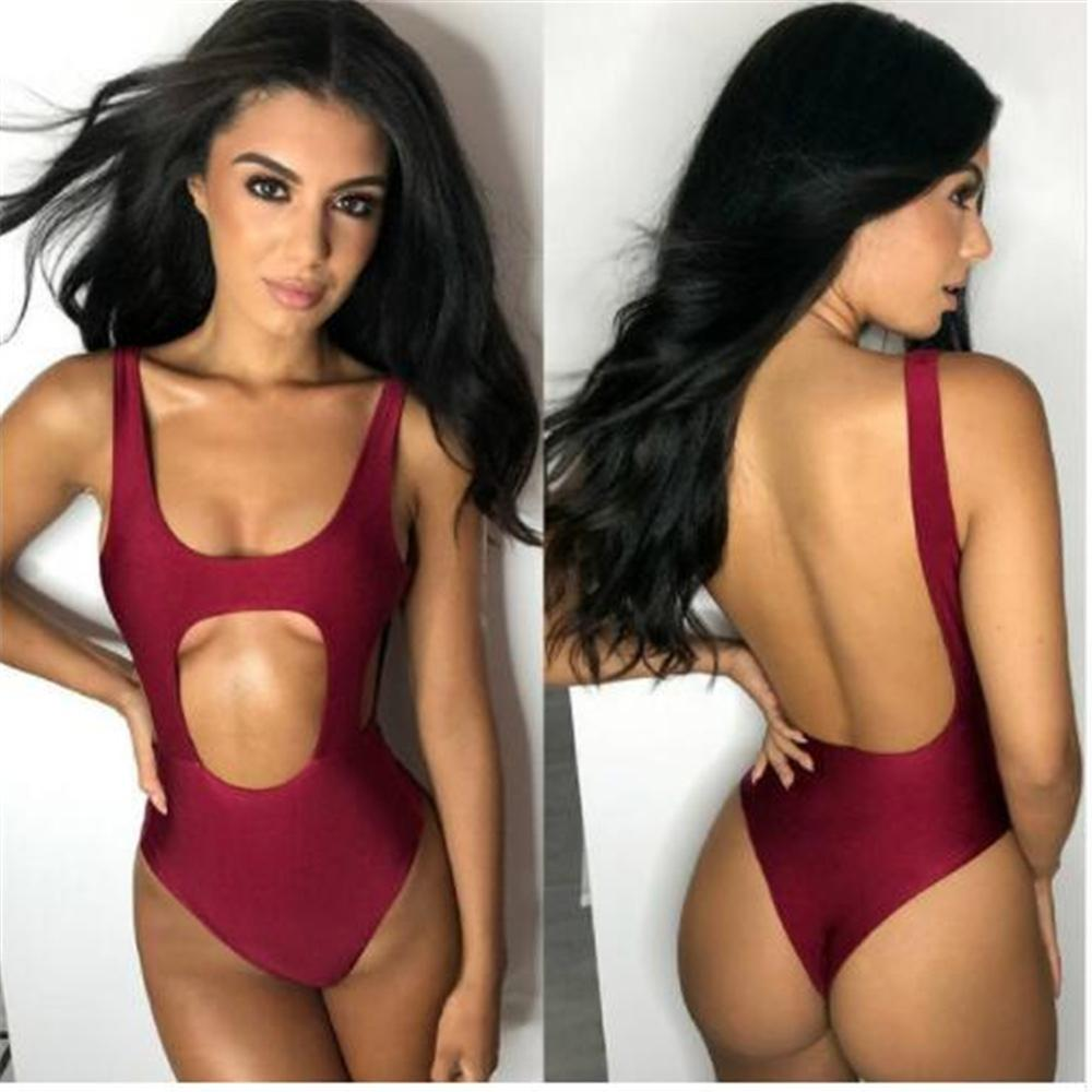 Solid Bodysuit Pad Bathing Suit Backless One-Piece Swimsuit Push Up Bikinis Swimwear Women Bathing Suit-SWIMWEAR-SheSimplyShops