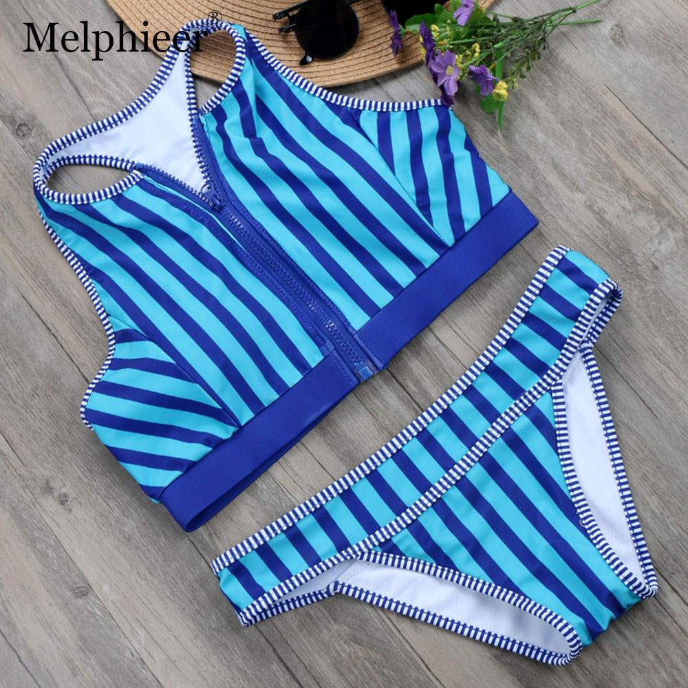 Red Striped High Neck Bikinis Set Sexy Girls Sport Bras Zipped Bathing Suit Swimwear Women Racer back Swimsuit-ACTIVEWEAR-SheSimplyShops