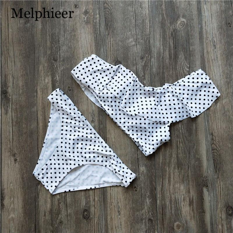 Sexy Dot Print Bikini Set NEW One-shoulder Swimwear Women Pads Push Up Swimsuit Bathing Suit Beachwear Bikini-SWIMWEAR-SheSimplyShops