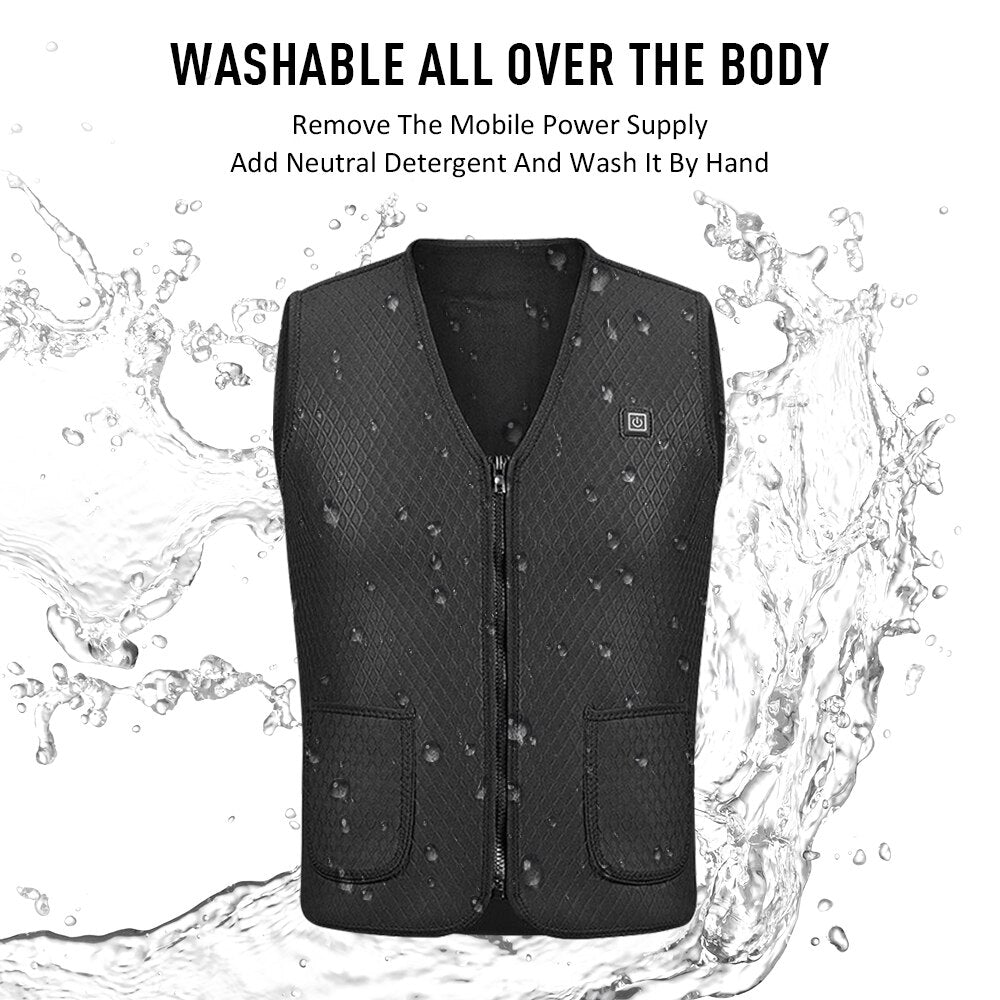 Men Women Outdoor USB Infrared Heating Vest Jacket Winter Flexible Electric Thermal Clothing Waistcoat Fishing Hiking Dropship