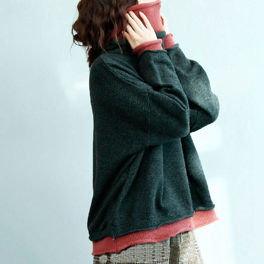 Mferlier Women Winter Sweater Turtleneck Lady Female Tops Oversized Korean Women Sweaters and Pullovers Batwing Sleeve Top