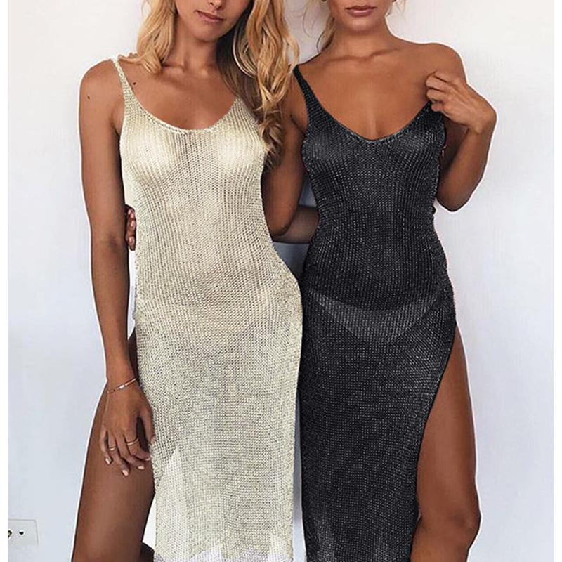 04e625444d29c Shiny Crochet Beach Cover Up Dress Sexy Women Side Split Suspenders Bikini  Cover-Ups Harness