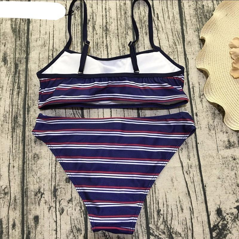 Striped Bandeau Bikini Set-SWIMWEAR-SheSimplyShops