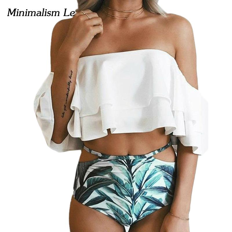 Ruffle Bandeau Women Swimwear Swimsuit Bikini High Waist Print Bottom Bathing Suits-Bottoms-SheSimplyShops