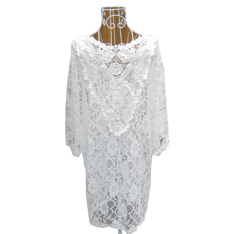 white lace beach cover up summer dress bathing suits women Transparent beach wear swimsuit-Dress-SheSimplyShops