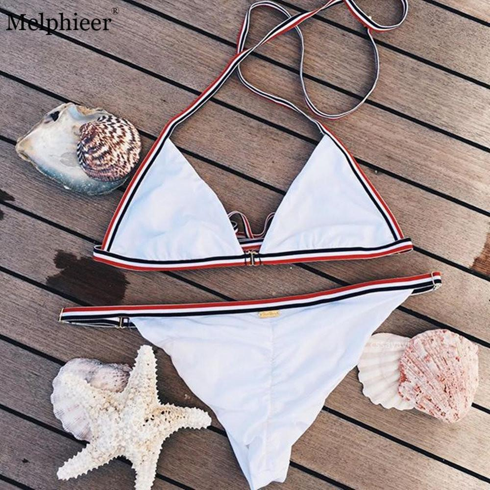 Stripe Swimsuit Set Sexy White Swimwear Women Halter Bikini Bandage Bikini Thong Bathing Suit Backless-SWIMWEAR-SheSimplyShops