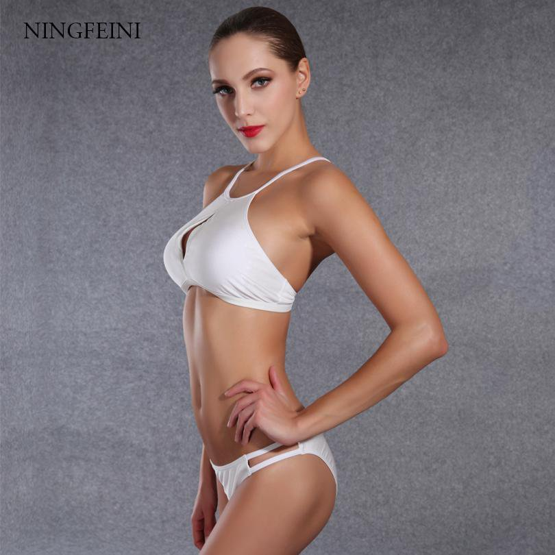 High Neck Bikini Bandeau Hollow Out Women Swimwear Female Swimsuit Solid Bandage Bikini Set Bathing Suit-SWIMWEAR-SheSimplyShops