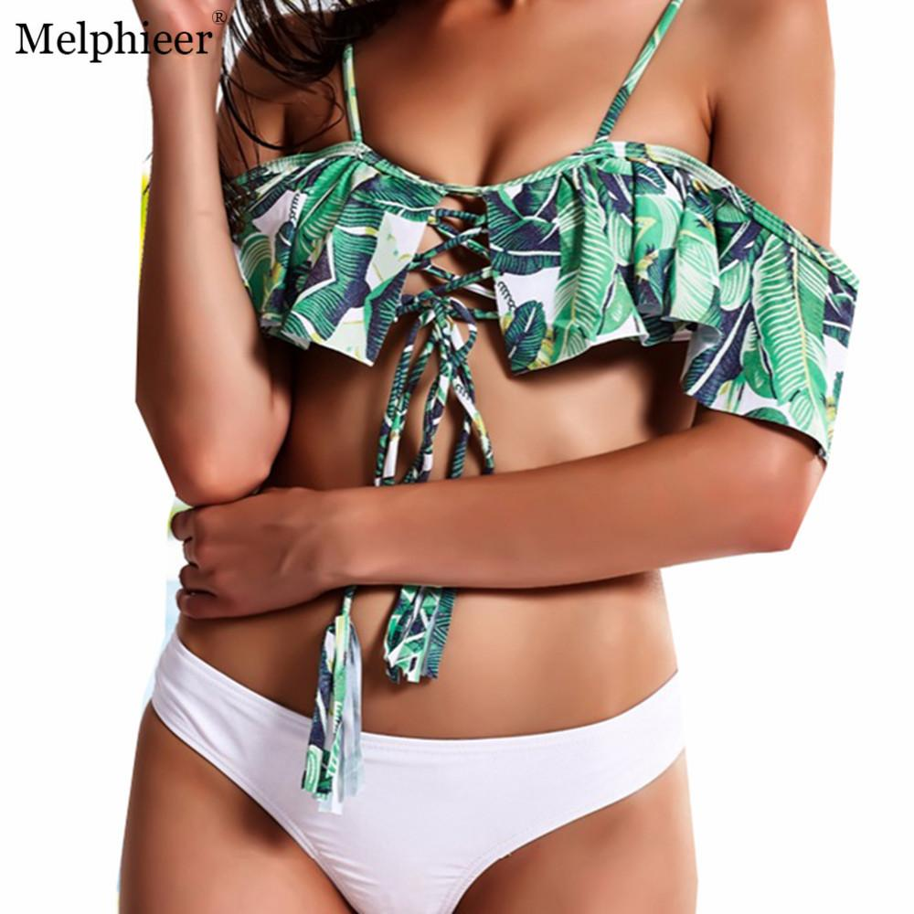 Ruffle Ruched Bandeau Sexy Bikinis Chest Stroppy Swimsuit Lace Up Swimwear Women Bikini Set Beach Bathing Suits-SWIMWEAR-SheSimplyShops