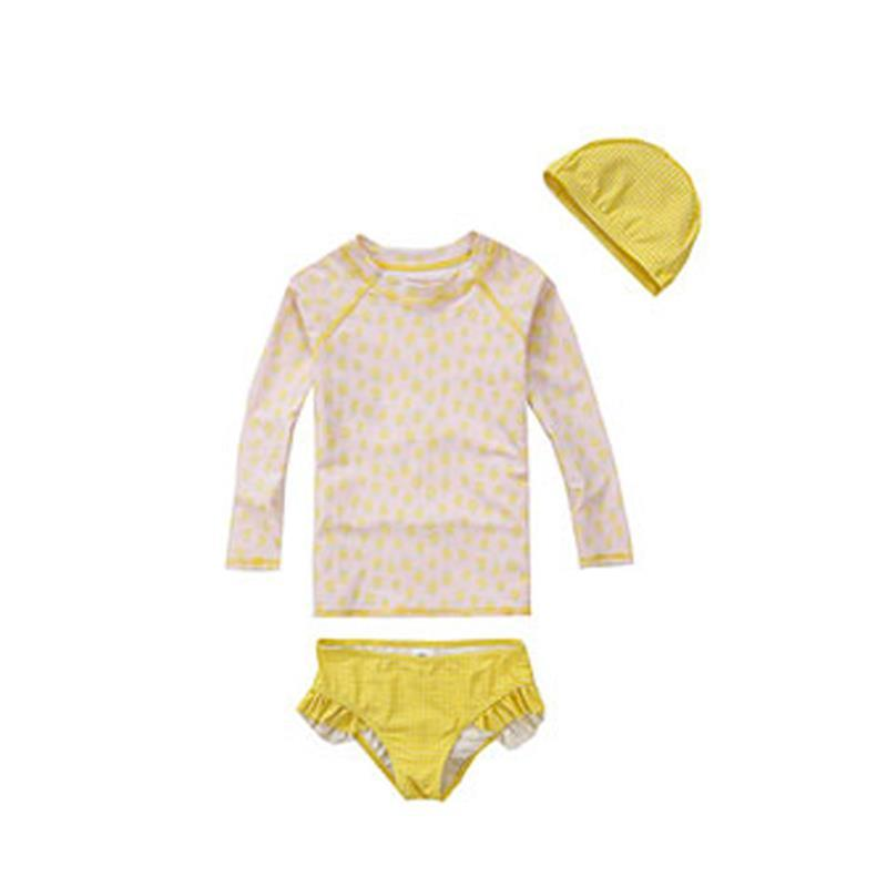 Kids lovely baby print Bathing Suits Swimwear girls baby long sleeve Sunscreen Two-piece Swimsuits-SheSimplyShops
