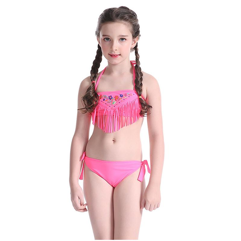 Baby Bikini Children Swimsuit Tassel Beach Swimwear Kids Pink Blue Swimming Wear Halter Bathing Suits-SWIMWEAR-SheSimplyShops