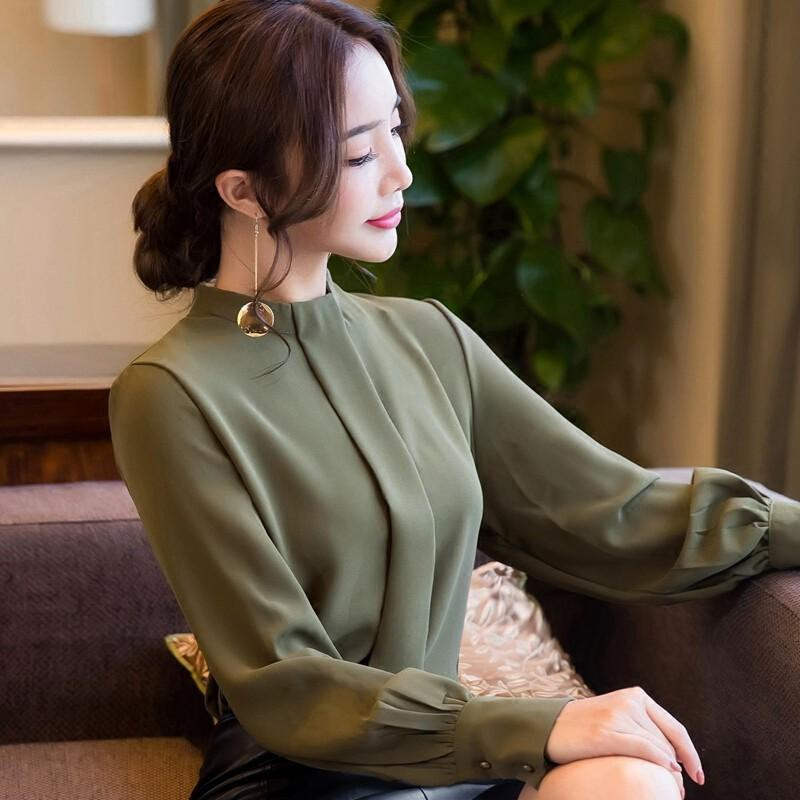 New Autumn Spring Tops Women Fashion Ladies Long Sleeve Shirts Casual Chiffon Blouse Work Wear Office Tops-Blouse-SheSimplyShops