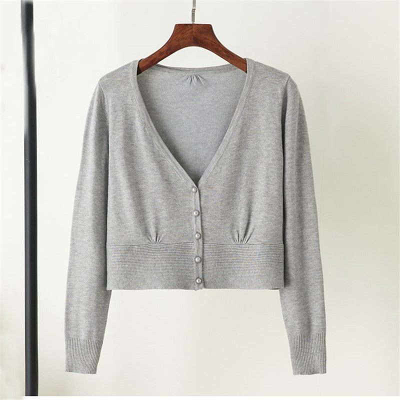 Autumn Women Cardigans Long Sleeve Thin Knitted Small Shawl Sweaters Coat Female Slim Elegant Short Cardigan SF1241