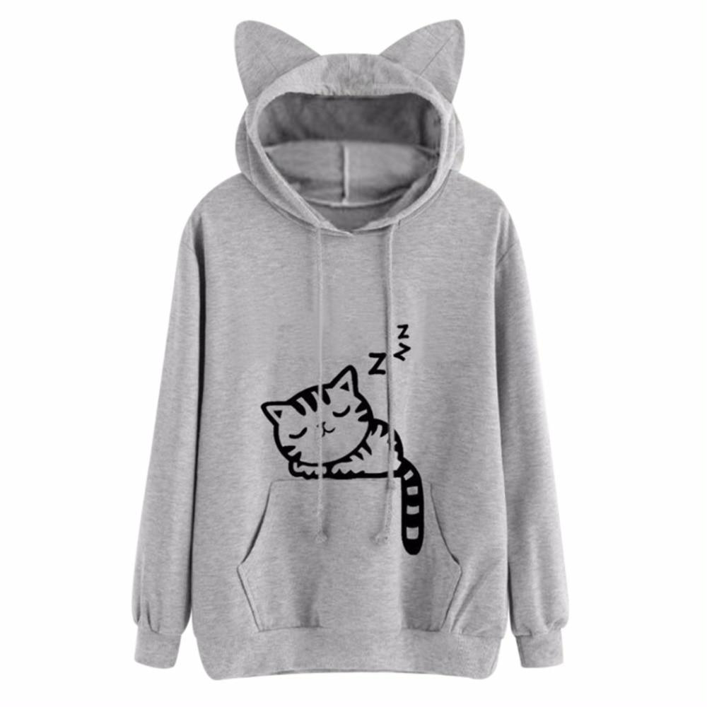 Design Cat Ear Hooded Coat Women Sweatershirt Sleep Cat Printed Autumn Long Sleeve Pullovers Female Outwear Womens