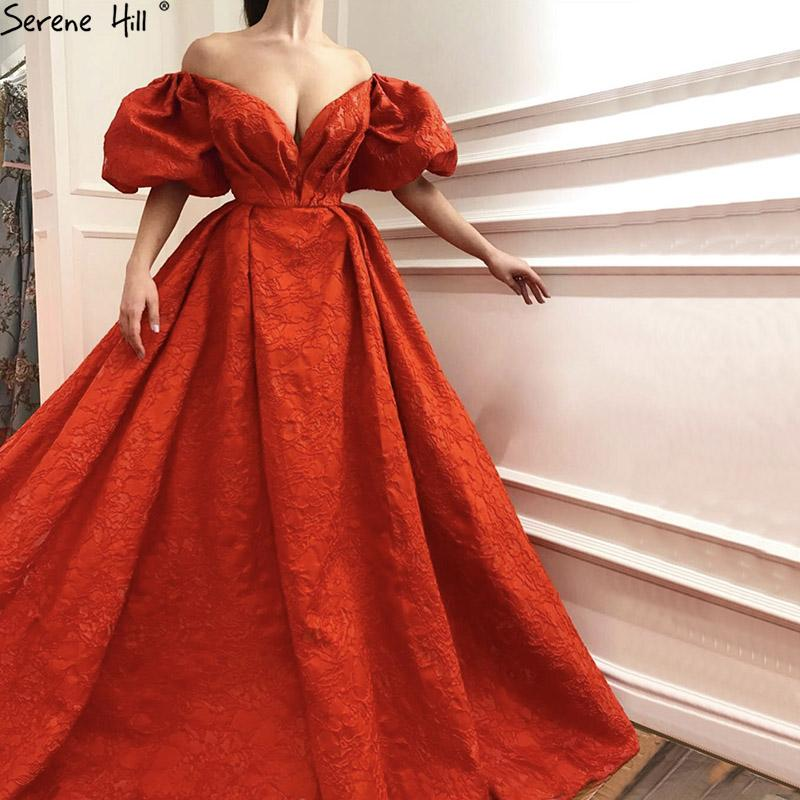 New Designer Red Short Sleeve Evening Gowns Off Shoulder Sexy Fashion Formal Evening Dresses-SheSimplyShops