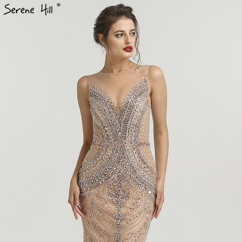 New Diamond Beading Nude Evening Dresses Sleeveless High-end Mermaid Formal Evening Gowns-SheSimplyShops