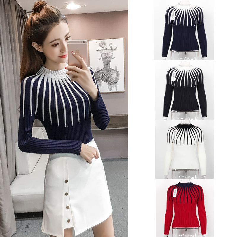 Striped Sweater Long Sleeve Spring Autumn Knitted Sweaters Women Pullover Basic Slim Casual Knitting Sweater