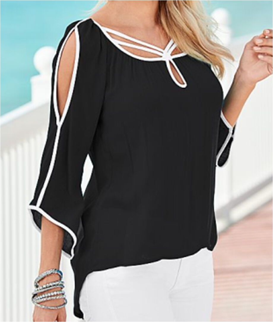 New Fashion Women's Loose Chiffon Tops Three Quarter Sleeve Shirt Casual Blouse Women Summer Clothes-Blouse-SheSimplyShops