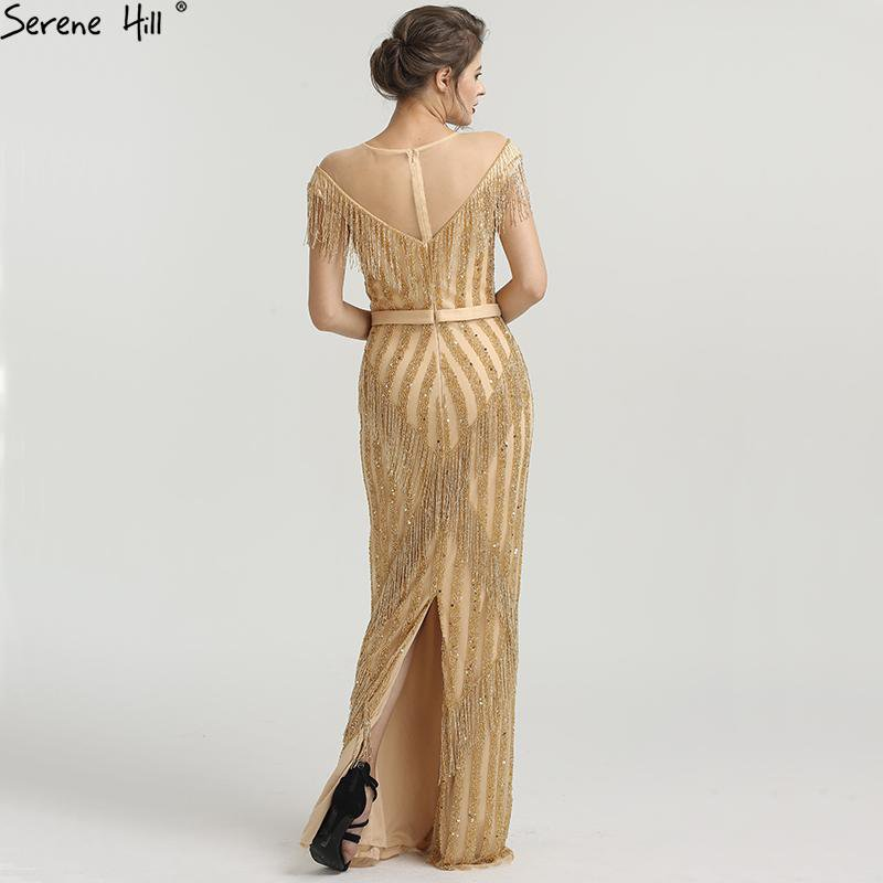New Gold Sleeveless Mermaid Evening Dresses Beading Tassel Fashion Elegant Sparkle Evening Gowns-SheSimplyShops