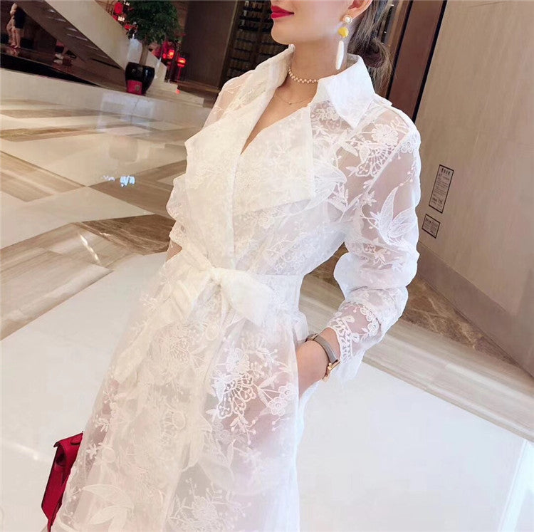Lace Trench Coat For Women Autumn Long Sleeve Notched Collar Self Belted Flower Embroidery Long Cardigans Casual Trench Coat
