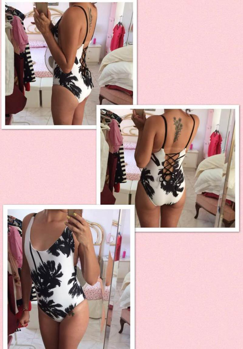 New Sexy Palm Tree Swimwear Bikini Black White One Piece Swimsuit Bathing Suits Women Stroppy Bikini Beach Wear-SWIMWEAR-SheSimplyShops