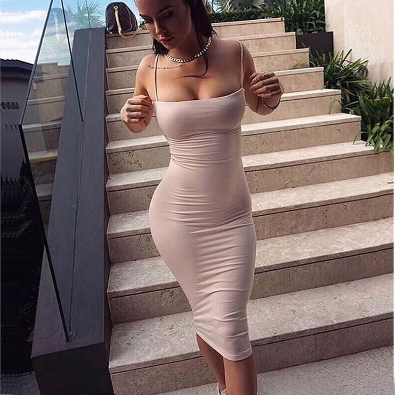 Cotton Summer Dress Two Layers Women Sexy Bodycon Midi Dress White Basic Tube Long Slip Dresses Casual-Dress-SheSimplyShops