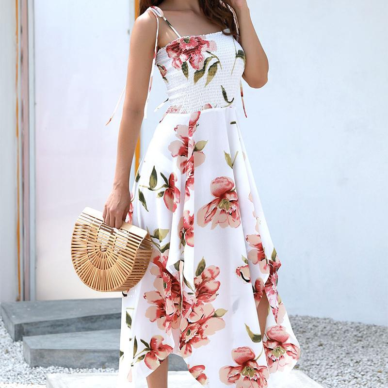 Strapless Print Midi Dress Tight Summer Women Dress Body con shrink Dress Beach Sexy Club Party Dresses-SheSimplyShops
