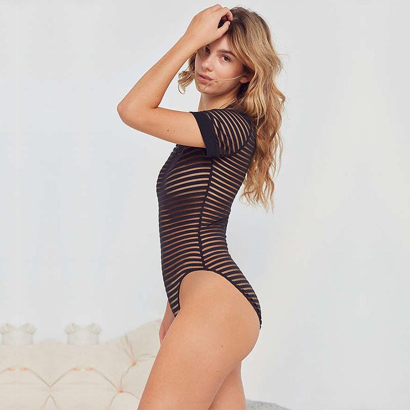 Lace Sexy Bodysuit Women Sleeve Solid Skinny Bodysuits Thong Hollow Out Romper Club Jumpsuit-SheSimplyShops