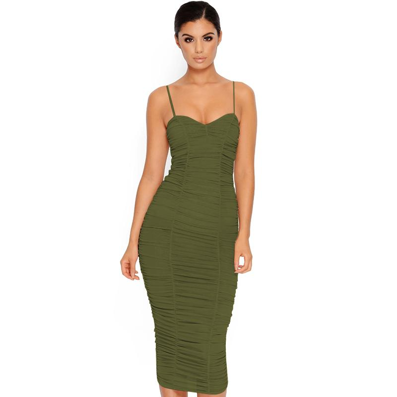Ruched Sheer Summer Dress Women Elegant Sexy Dress Club Wear Body con Long Dress Midi Party Dresses Ladies-SheSimplyShops